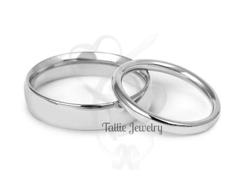 His & Hers Wedding Rings, Matching Wedding Bands, Shiny Finish Plain Wedding Bands, 10K 14K18K Solid White Gold Mens Womens Wedding Rings