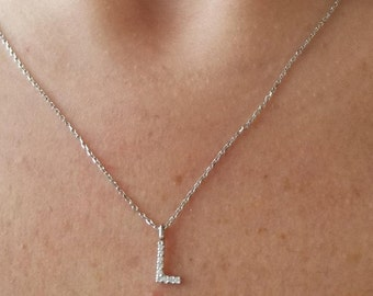 Diamond Initial Necklace/14k Gold Initial Diamond Necklace/14K White Gold Letter Necklace/Dainty Initial Necklace, All Letters Available