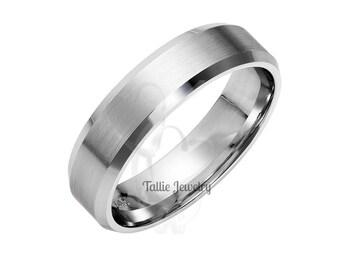 Mens Platinum Wedding Bands, Mens Platinum Wedding Rings,His & Hers Wedding Bands, 6mm Satin Finish Beveled Edge Platinum Mens Wedding Bands