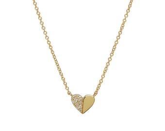 14K Gold Heart Necklace / Diamond  Heart Necklace / Dainty Heart Necklace / Solid Yellow Gold Diamond Heart Necklace