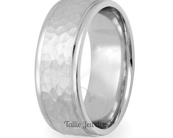 7mm 10K 14K 18K White Solid Gold Mens Wedding Bands,  Hammered Finish Mens Wedding Rings