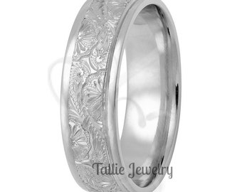 6mm 10K 14K 18K Solid White Gold Hand Engraved Wedding Rings,  Hand Engraved Mens Wedding Bands,  His & Hers Wedding Rings