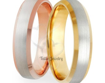 His & Hers Wedding Rings, Matching Wedding Bands, 14K Solid White and Rose Gold Mens Womens Wedding Rings, Two Tone Gold Wedding Bands,