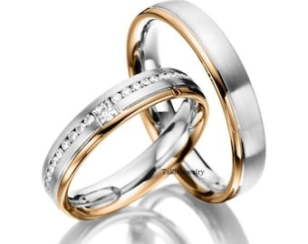 His & Hers Wedding Bands, Matching Wedding Rings Set, 10K 14K 18K White and Rose Gold Diamond Wedding Bands, Two Tone Gold Wedding Rings
