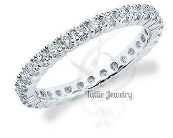 Diamond Eternity  Band / Diamond Eternity Ring / 14K White Womens Diamond Wedding Bands / 1.20 Carats Diamond Wedding Rings