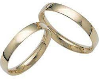 3mm 10K 14K 18K Solid Yellow Gold Wedding Bands ,His & Hers Wedding Rings, matching Wedding Bands