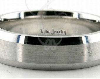 Mens Platinum Wedding Band,  Platinum Wedding Ring ,  6mm Satin Finish Beveled Edge Platinum Rings, Platinum Band