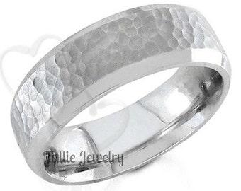 Hammered Finish  Mens Wedding Band, Beveled Edge Mens Wedding Ring, 7mm 10K 14K 18K Solid White Gold Wedding Bands