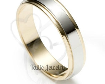 Platinum Wedding Bands,  Platinum & 18K Solid Yellow Gold Mens Wedding Rings, Platinum Mens Wedding Bands, Two Tone Gold Wedding Ring