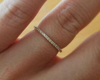 Micro Pave Eternity Diamond Ring, 14k Gold Wedding Ring, Diamond Eternity Wedding Band, Stackable 1.3mm Ring,Thin Diamond Wedding Ring