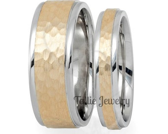 His & Hers Wedding Rings, Matching Wedding Bands Hammered Finish Mens  Womens Wedding Rings, 10K 14K 18K White and Yellow Gold Wedding Bands