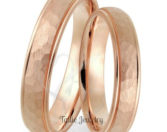 His & Hers Wedding Ringss, Matching Wedding Bands ,14K Solid Rose Gold Hammered Finish Wedding Rings Set, His and Hers Wedding Bands