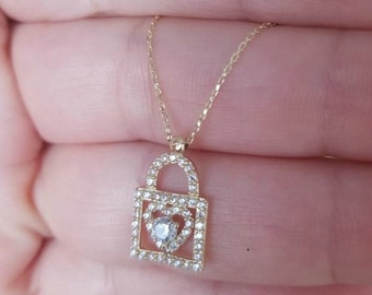 Heart Lock Necklace, 14K Solid Gold Heart Necklace,  Diamond CZ Heart Necklace, Heart Lock Necklace, Solid Gold Heart Necklace, Christmas