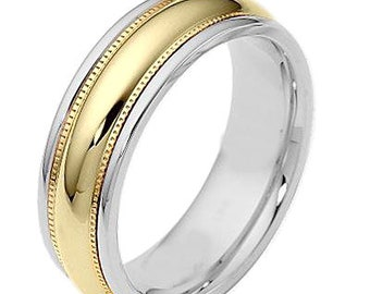 7mm 10K 14K 18K Solid White & Yellow Gold Mens Wedding Ring,  Milgrain Shiny Finish Mens Wedding Band