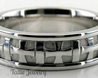 10K 14K 18K Solid White Gold Mens Wedding Bands, Handmade Cross Design Mens Wedding Rings