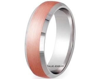 7mm 10K 14K White and Rose Gold Mens Wedding Bands, Beveled Edge Satin Finish Mens Wedding Rings, Two Tone Gold Wedding Bands