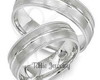 Platinum Matching Wedding Bands, His & Hers Wedding Rings, Platinum Matching Wedding Bands Set, Mens and Womens Platinum Wedding Rings