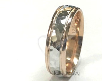 Two Tone Wedding Bands, 6mm 14K Solid White and Rose Gold Hammered Finish Mens Womens Wedding Rings, Two Tone Gold Wedding Bands