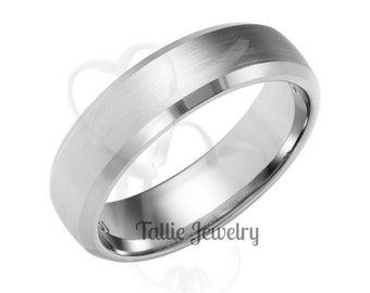 Custom Made for Tarek ,950 Platinum  6mm Satin Finish Beveled Edge  Platinum Mens Wedding Ring
