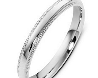 3mm 14K Solid White Gold Wedding Bands, Milgrain Shiny Finish Mens and Womens Wedding Ring