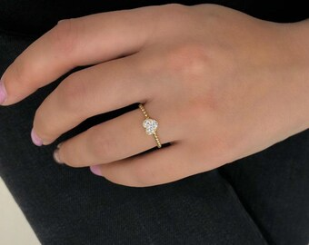 14K Gold Heart Ring, Diamond Heart Ring, Minimalist Heart Ring, Diamond CZ Heart Ring,  Twisted Ring, Womens Wedding Ring, Dainty Heart Ring