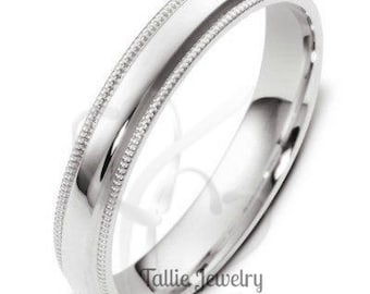 Mens Womens Platinum Wedding Ring , Plain Platinum Wedding Band