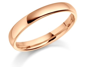 4mm 14K Rose Gold Wedding Bands,  Mens Wedding Ring,  Mens Wedding Bands, Shiny Finish Plain Wedding Ring