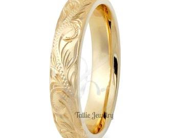 4mm 14K Solid Yellow Gold Hand Engraved Wedding Band,  Hand Engraved Womens Wedding Ring,  His & Hers Wedding Bands, Hand Engraved Rings