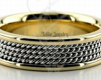Platinum and 18K Yellow Gold Wedding Ring for Men & Women , Two Tone Gold Wedding Bands, Platinum Wedding Rings