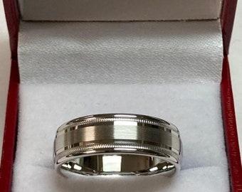 Mens Platinum Wedding Band,  Platinum Mens Wedding Ring , 950 Platinum Satin Finish Milgrain Wedding Bands