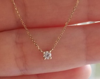 14K Gold Diamond Solitaire Necklace, 0.12ct Prong Setting Diamond Solitaire Necklace, Bridal Diamond Necklace, Layering Diamond Necklace