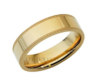 Yellow Gold Mens Wedding Bands, Shiny Finish Flat Milgrain Mens Wedding Ring, 6mm 10K 14K 18K Solid Yellow Gold Wedding Bands, Rings for Men