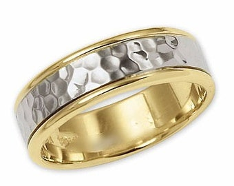 Two Tone Gold Wedding Bands, 6mm,10K,14K,18K White and Yellow Gold Hammered Finish Mens Wedding Rings, Two Tone Gold Mens Wedding Bands