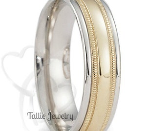 Two Tone Wedding Bands, 6mm 10K 14K 18K Solid White and Yellow Gold Shiny Finish Milgrain Mens Wedding Rings, Two Tone Gold Wedding Bands