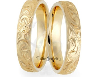 His & Hers Wedding Bands, Matching Wedding Rings, 14K Solid Yellow Gold Hand Engraved Wedding Bands, Hand Engraved Wedding Rings