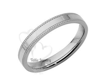 Mens Platinum Wedding Band,  Platinum Thin Wedding Ring,  Flat Milgrain Mens Womens Platinum Wedding Bands, Platinum Wedding Rings
