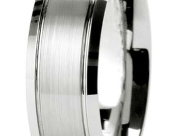 8mm 10K 14K 18K Solid White Gold Wedding Bands, Satin Finish Mens Wedding Rings, Mens Wedding Bands, His & Hers Wedding Rings
