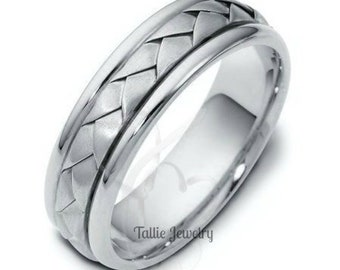 Platinum Braided Wedding Bands, Platinum Wedding Ring for Men & Women