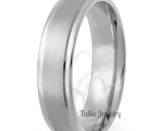 Platinum Mens Wedding Band, Platinum Mens Wedding Ring , 6mm Satin Finish  Platinum Wedding Bands, 950 Platinum Band