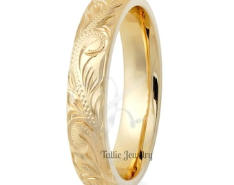 10K 14K 18K Solid Gold Wedding Ring for Men & Women, Yellow Gold Mens Wedding Band, Hand Engraved Mens Wedding Ring, Engraved Rings