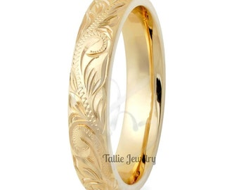 Hand Engraved Mens  Wedding Band, Hand Engraved Mens Wedding Ring ,4mm 10K 14K 18K Solid Yellow Gold Hand Engraved Wedding Rings