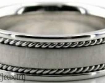 Braided Platinum Wedding Rings, Platinum Mens Wedding Band, Handmade Brushed Finish Mens Wedding Ring