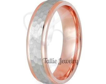 Two Tone Gold Wedding Bands, 6mm 14K Solid White and Rose Gold Hammered Finish Wedding Rings, Mens Wedding Band, Mens Wedding Ring