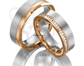 His & Hers Wedding Bands, Matching Wedding Rings, Two Tone Gold Wedding Bands, Diamond Wedding Rings,14K White and Rose Gold Wedding Bands