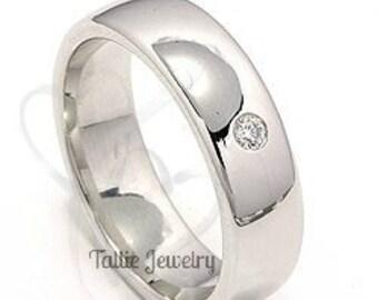 6mm 10K 14K 18K White Gold Mens Diamond Wedding Bands,  Mens Diamond Wedding Rings, Matching Wedding Bands, His & Hers Wedding Rings