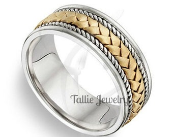 7mm 10K 14K 18K Solid White and Yellow Gold Mens Wedding Bands, Handmade Rope Braided Mens Wedding Rings,   Two Tone Gold Wedding Bands