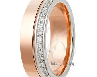 Diamond Wedding Eternity Ring  / Diamond Eternity Wedding Band / 14K Rose Gold  Diamond Wedding Rings / Womens Diamond Wedding Bands