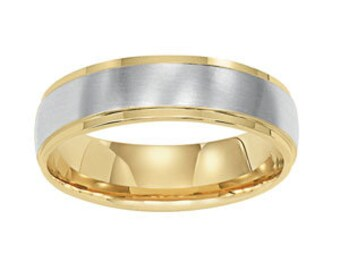 Two Tone Wedding Bands, 6mm 10K 14K 18K White and Yellow Gold Satin Finish Mens or Womens Wedding Rings, Two Tone Gold Wedding Bands