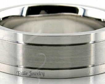 950 Platinum Band,  6mm Satin Finish Platinum Ring , Platinum Mens Wedding Bands, Platinum Mens Wedding Rings