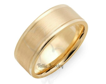 Yellow Gold Mens Wedding Bands,  8mm 10K 14K 18K Solid Yellow Gold Mens Wedding Rings